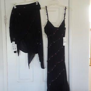 ECI black spaghetti strap dress w/ matching wrap